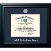 """Patriot Frames Campus Images Coast Guard Discharge Frame with Silver Medallion, 8.5"""" x 11"""", Black"""