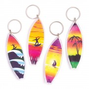 Baker Ross Surfboard Keyrings - 8 Keyrings For Kids. Funny Toy Keyrings. Kids Party Bag Fillers. Size 8cm.