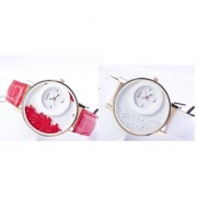Fast Selling Out Imported Women Party Wadding White And Red Combo Of 2 Ladies And Girls Watches