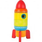 Joc de stivuire Racheta spatiala, Jucarie educativa din lemn, 1 an +