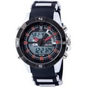Konigswerk black20751 Konigswerk Mens Alarm LCD Dual Time Chronograph Black Band Red Second Hand Military Sport Watch AQ202901G Watch - For Men