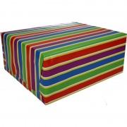 Shoppartners Inpakpapier met gekleurde strepen 200 x 70 cm op rol type 1