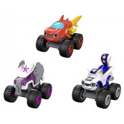 Fisher Price Nickelodeon Blaze and the Monster Machines Die-Cast Wild Wheels - Shark Blaze, Elephant Starla, Flying Stunt Squirrel Darlington - 3 Pack Bundle