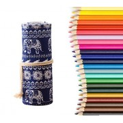 LOLOOP Colored Pencils,36-Colors Pencils for Sketch Coloring Books with Canvas Wrap Roll up Pencil Case