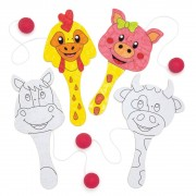 Baker Ross Wooden Farm Animal Biff Bats - 5 Paddle Bats and Balls On Elastic. Fun Farm Crafts. Colouring Craft Toys. Size 18cm.