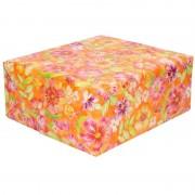Shoppartners Inpakpapier/cadeaupapier oranje met roze bloemen 200 x 70 cm rol
