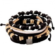 Dare by Voylla Black White Leather and Beads Bracelet Set of 4