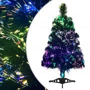 vidaXL Изкуствено коледно дърво, оптично влакно, 64 см, зелено