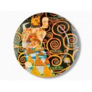 H.C.198-1312 Üvegtányér kerek 40cm, Klimt:Várakozás