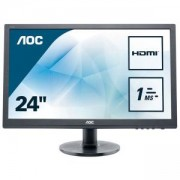 Монитор AOC E2460SH 24 инча LCD WLED, HDMI, VGA, DVI, Speakers, Черен, E2460SH