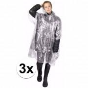 Geen 3x wegwerp regenponcho transparant