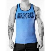 Whittall & Shon Air Force Ribbed Tank Top T Shirt Blue 350