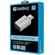 Преходник Sandberg SNB-136-24, от USB C(м) към USB A(ж), сребрист