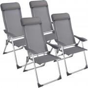 4 X Fotel Turystyczny Krzesło Ogrodowy Aluminiowe