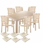 Set gradina terasa CULINARO RISTI masa 90x150x75cm 6 scaune polipropilen/fibra sticla culoare capucino 6 perne scaun