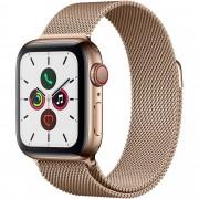 Smartwatch Apple Watch Series 5 GPS + Cellular, 40mm, 4G, Carcasa Gold Stainless Steel, Bratara Gold Milanese