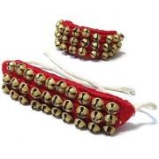 De-Ultimate 1 Pair Of Red Color Musical Kathak Bharatanatyam 3 Line Dancing 60 Bells Handmade Classical Odissi Ghungroo