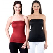 NumBrave Womens Maroon Black Tube Top (Combo of 2)