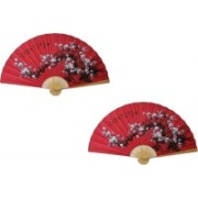 K Decoration Foldable Floral Print Multicolor Hand Fan(Pack of 2)