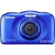 Digitalni fotoaparat Nikon W-100 13.2 MPix Zoom (optički): 3 x Plava boja Full HD video zapis, Podvodna kamera, Otporan na udarc