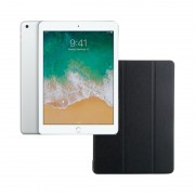 "Apple iPad 9.7"" (2018) 32GB Wifi with Folding Case (Black) - Silver (with 1 year official Apple Warranty)"