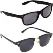 Aligatorr Wayfarer, Clubmaster Sunglasses(Grey, Black)