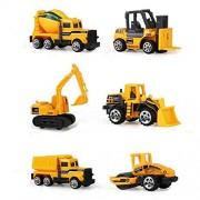 Construction Trucks JINGYAT Mini Cars Toy (Pack of 6) Assorted Construction Vehicles Die Cast Vehicle Play Vehicles Model Cars 1:64