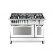 LOFRA cuisine PBPD126GV + et / 2CI White Pearl 120 x 60 avec support de réservoir en acier brossé, plan-7 brûleurs à gaz