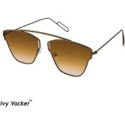 Ivy Vacker Brown Square Aviator Sunglass