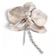 Brosa handmade Orhidee argint 925cu cristale Swarovski lungime 6cm