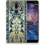 Nokia 7 Plus Uniek TPU Hoesje Golden Flowers