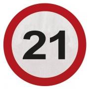 Servetten 21 jaar verkeersbord