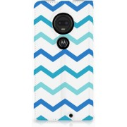 Motorola Moto G7 G7 Plus Uniek Standcase Hoesje Zigzag Blauw