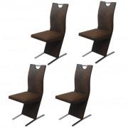 vidaXL Трапезни столове, 4 бр, текстил, кафяви