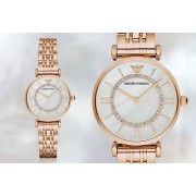 Emporio Armani Ladies' Armani AR1909 Gold T-Bar & Mother of Pearl Dial Watch