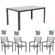 Set mobila gradina terasa masa dreptunghiulara cadru aluminiu POLYWOOD GREY 150x90x74cm cu 4 scaune 60x57x89cm 4 perne