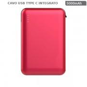 POWER BANK RICARICA CELLULARI 5000MAH N1 USB N1 CAVO TYPE C ROSSO VT-3510-LED8866