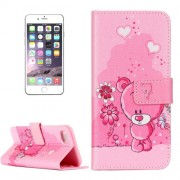 iPhone 7 Plus Case, Embossed Pink Bear Pattern Horizontal Flip Leather Case with Card Slots & Wallet & Holder