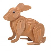 Generic 3D Handmade Wooden Puzzles Woodcraft Construction Kit DIY Rabbit Puzzle Kids Gift Toy