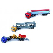 Diecast Commercial Container Trailers With Tanker, Carrier, Flatbed, Construction Vehicles 1:50 Scale (Set Of 3)