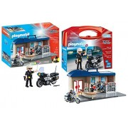 Playmobil City Action Playset Bundle with Take Along Police Station Playset and Police Motorcycle Playset