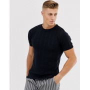 River Island muscle fit knitted t-shirt in navy