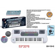 Синтезатор 37 клавиш, бел., эл. звук, микрофон, запись, элементы питания не входят в комплект. ZYB-B0689-2