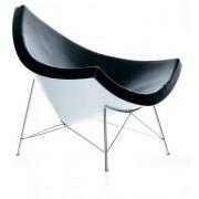 George Nelson Czarny Fotel Kokos Skóra Naturalna Inspirowany Projektem Coconut Chair