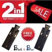Suspender for Men Boys Unisex Y-Shaped Back set of 2 Color Black and Blue
