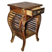 Shilpi Wooden Hand Carved Side Table Stool Antique Look