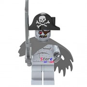 Generic 50pcs Pirates of The Caribbean Monsters Series Halloween Zombie Pirate Shark Figure Building Block Bricks for House Children Toy 613