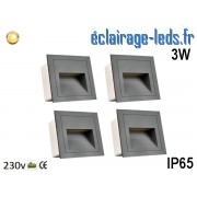 4 supports Gris encastrable Sol et Mur 3W blanc chaud IP65 230v ref sms-14