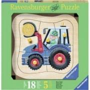 Детски дървен пъзел 5 елемента - Трактор - Ravensburger, 7003229