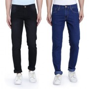 John Wills Men's Black and Royal Blue Cotton Stretchable Slim Fit Jeans (Pack of 2)
